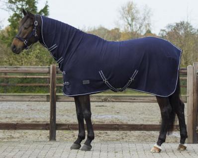 QHP Fleecedecke Abschwitzdecke Basic mit Halsteil Kreuzgurte blau