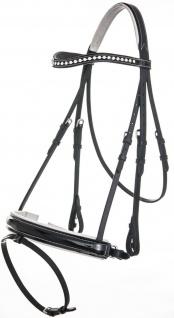 QHP Schwedische Trense Aphrodite Leder schwarz weiss unterlegt m. Strass 4 Gr.