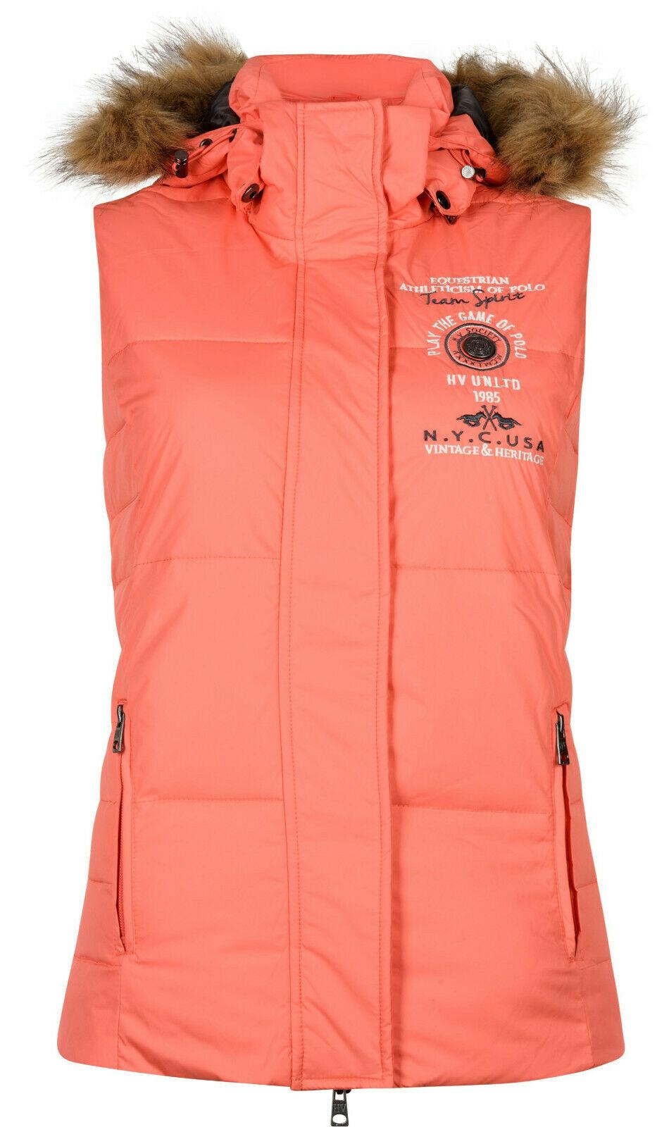 HV Polo Damen Bodywarmer Reitweste Malo abnehmbare Kapuze mit Kunstpelz