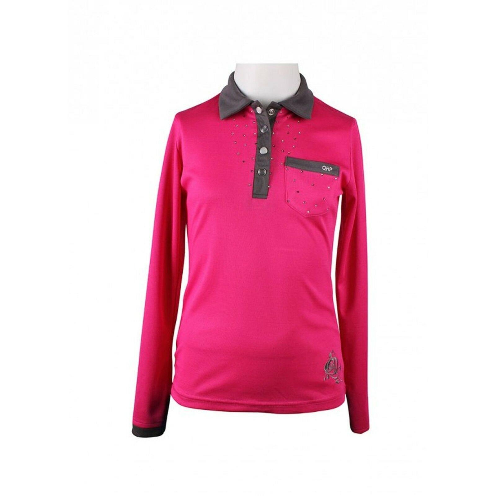 Polos & Shirts Damen-Reitbekleidung QHP Damen Polo-Shirt Luna kurzarm Kragen Basismodell Anthrazit