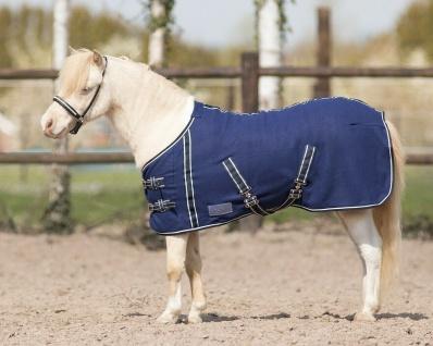 QHP Falabella Fleecedecke Minishetty Kreuzgurte blau mit weißen Ziernähten