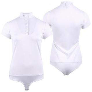QHP Damen Body-Turniershirt Bibie weiss. kurzarm. Stehkragen. Strass