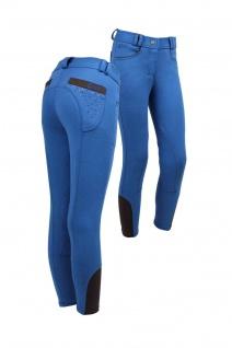 genießen Sie besten Preis einzigartiges Design neue Season QHP Modische Kinder Reithose Junior Pearl Stoff Kniebesatz blau  Strass-Steine