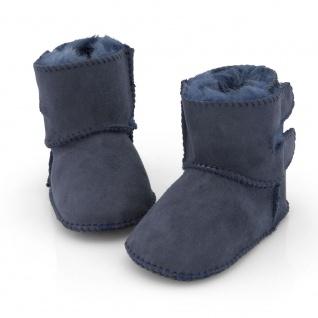 Weiche Babyschuhe Leder Lammfellfutter Merino doppel Klettverschl. Baby blau