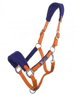QHP Halfter Holland orange mit weichem blauen Fleecepolster 3-fach verstellbar