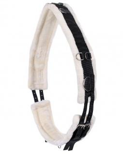 QHP Longiergurt Ontario Polyester mit weichem Kunstfellfutter zahlreiche Ringe - Vorschau 1