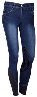 Harry's Horse Kinder Reithose Dirty Denim Silikon Grip Kniebesatz blau Gr. 140
