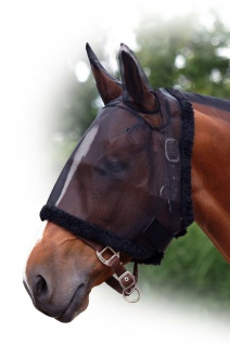 QHP Fliegenschutzmaske mit Ohren Fliegenschutz Kopf schwarz diverse Größen
