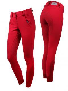 QHP Damen Reithose Jill Voll Grip im stilisierten Blumendruck Rot Gr. 34 - 44