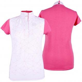 QHP Damen Turniershirt Lexi pink kurzarm Stehkragen Strass-Details