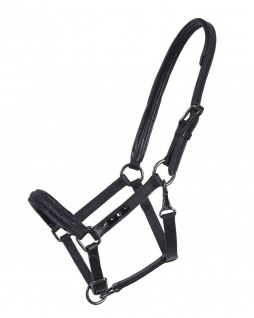 QHP Luxus Fohlen Halfter Shimmer Leder-Halfter Fohlen schwarz mit Strass-Steinen