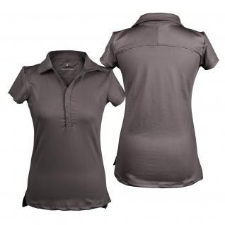QHP Damen Polo-Shirt Luna kurzarm Kragen Basismodell Anthrazit