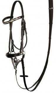 Harry's Horse Hannoveranische Trense Lacque Leder schwarz Lack + Strass Pony