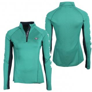 QHP Sport Shirt Vegas Junior langarm. Stehkragen. RV. Sternprint auf den Ärmeln