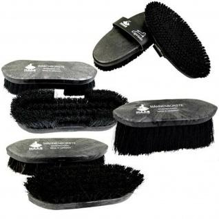 HAAS Bürsten Set Black 2 x Mähnenbürste. Waschbürste und Kardätsche