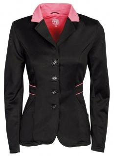 Harry's Horse Damen Turnierjacket Contrast Softshell-Stretch Kragen schwarz-rosa