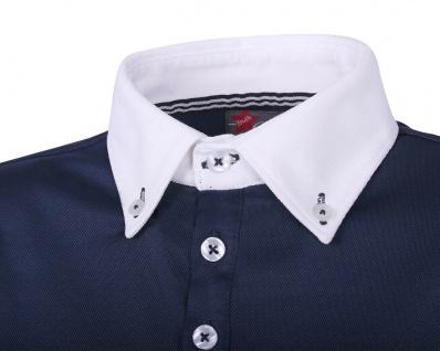 QHP Turniershirt Roald Junior navy langarm mit Button-Down-Kragen - Vorschau 2
