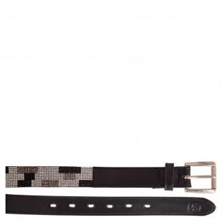 BR Leder-Gürtel Flash schwarz mit Strasssteinen besetzt 85 cm. 95 cm