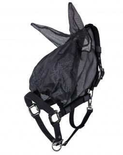 QHP Halfter Fliegenschutzmaske Combi mit Ohren schwarz feinmaschig 3 Größen