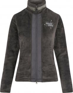 Imperial Riding Damen Hairy Fleece Jacke Blush Platinum Grey Nieten am Kragen