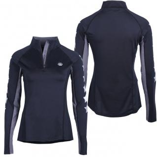 QHP Damen Sport Shirt Vegas langarm. Stehkragen. RV. Sternprint auf den Ärmeln