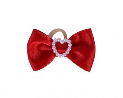 QHP Mähnenschleifen Heart 16 Stück im Set Schleife mit Perlenherz 3 Farben - Vorschau 1