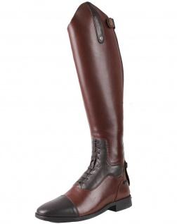 QHP Damen Luxus Leder-Reitstiefel Verena mehr Komfort Größe 36.39 weit braun