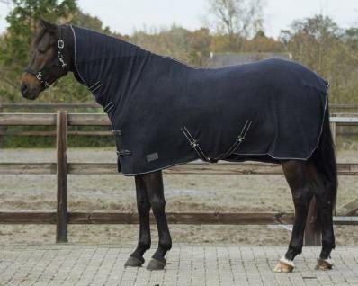 QHP Fleecedecke Abschwitzdecke Basic mit Halsteil Kreuzgurte schwarz 105-165 cm