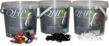 QHP Mähnengummi Mähnengummis extra stark ca. 1800 Stück im Eimer 3 Farben