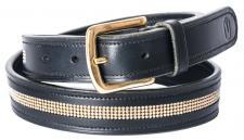 QHP Leder-Gürtel Helios schwarz mit Strass 95 cm