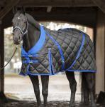 CATAGO Stalldecke 300 g Füllung schwarz mit blau 420D Gehfalte Kreuzgurte