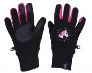 QHP Fleece-Reithandschuhe Fresco Handschuhe Stickmotiv Touchscreennutzung Kinderhandschuh
