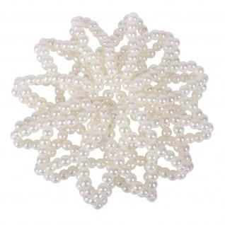 QHP Haarnetz Pearl Perlennetz Perlen elastisch Universalgröße schwarz + weiss - Vorschau 2