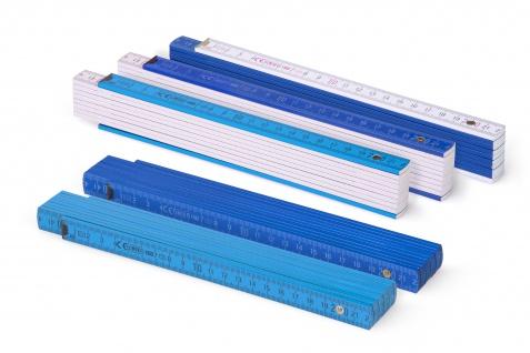 Zollstock Metrie Block 52 - 2m Farbig mix 5 stück blau/weiss