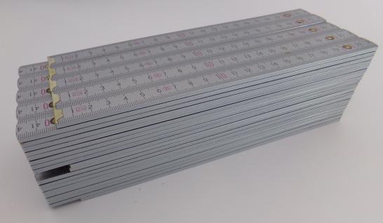 10x Zollstock | Gliedermaßstab | Schmiege | Meterstab | silber - 2m