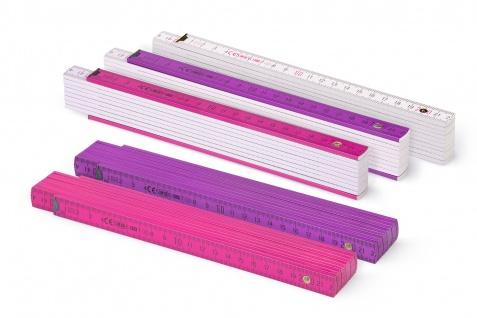 Zollstock Metrie Block 52 - 2m Farbig mix 5 stück rose/violett/weiss