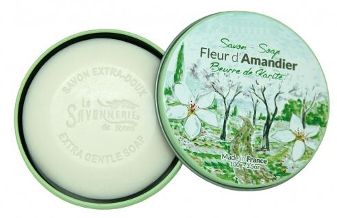 La Savonnerie De Nyons Seife in der Metalldose Mandelblüte Seife 100 Gramm