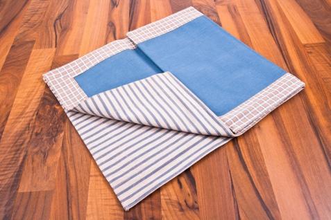 Tischläufer blau/braun/weiß 140 x 40 cm 100% Baumwolle Tischdecke - Vorschau 2
