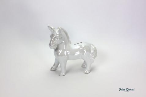 FeineHeimat Spardose Sparbüchse Einhorn Keramik weiß
