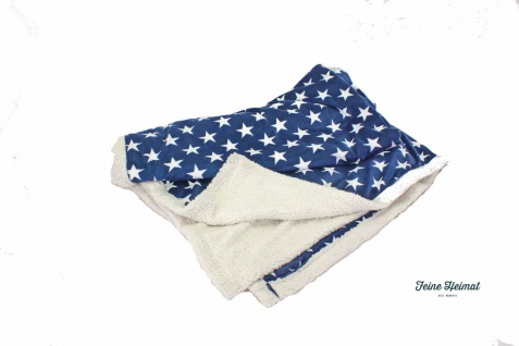 "FeineHeimat Kuscheldecke Fleece Decke "" Stars"" ca.130 x 170cm blau / weiß"
