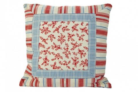 Kissen im Patchworkstil mit roter Zackenlitze, rot/weiß/blau, 100% Baumwolle, inkl. Füllung