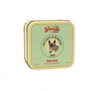 La Savonnerie De Nyons BIO Seife in der Metalldose Eselsmilch Savon au lait d'ânesse 100 Gramm