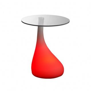 Luminatos MANCHESTER, LED Tisch mit Glasscheibe Farbwechsel Fernbedienung Akku Betrieb