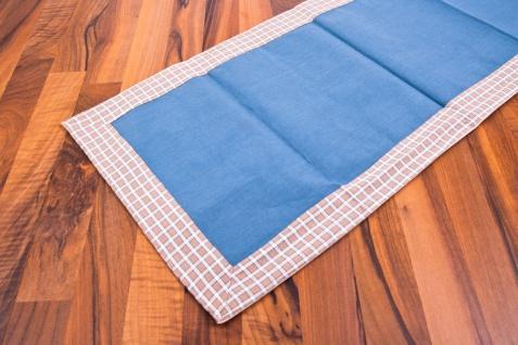 Tischläufer blau/braun/weiß 140 x 40 cm 100% Baumwolle Tischdecke - Vorschau 1