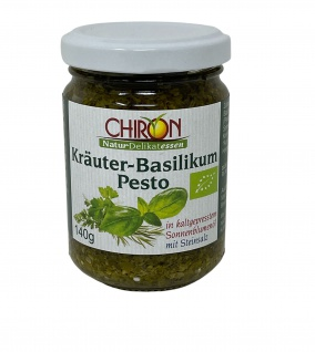 CHIRON Naturdelikatessen Bio Kräuter-Basilikum Pesto kbA 140 g Glas