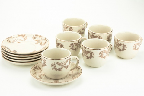 Espressotasse Chalet, cremeweißes Porzellan mit taupefarbenem Dekor 6er Set