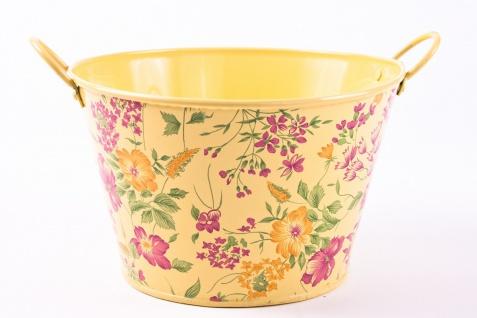 3tlg. Set runde Übertöpfe Petite Fleur, vanillegelb lackiertes Zinkblech mit Blumenaufdruck - Vorschau 4