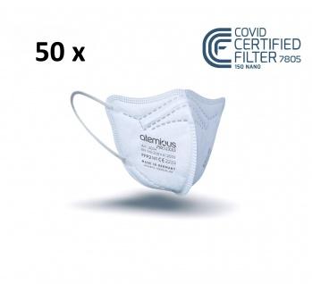 atemious PRO 2 XXS, 50 x FFP2 Maske für kleine Köpfe EN 149:2001+A1:2009 CE 2233 ACHTUNG! KLEINE PASSFORM