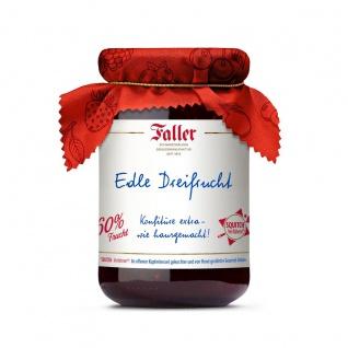 Marmelade aus dem Schwarzwald Faller Edle Dreifrucht-Konfitüre wie hausgemacht! mit 60% Frucht 330 Gramm