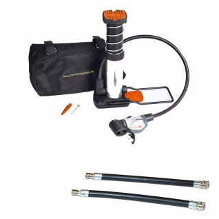 BIKERS Dream Bundle Minifusspumpe mit 2 Adapter Analoge Anzeige
